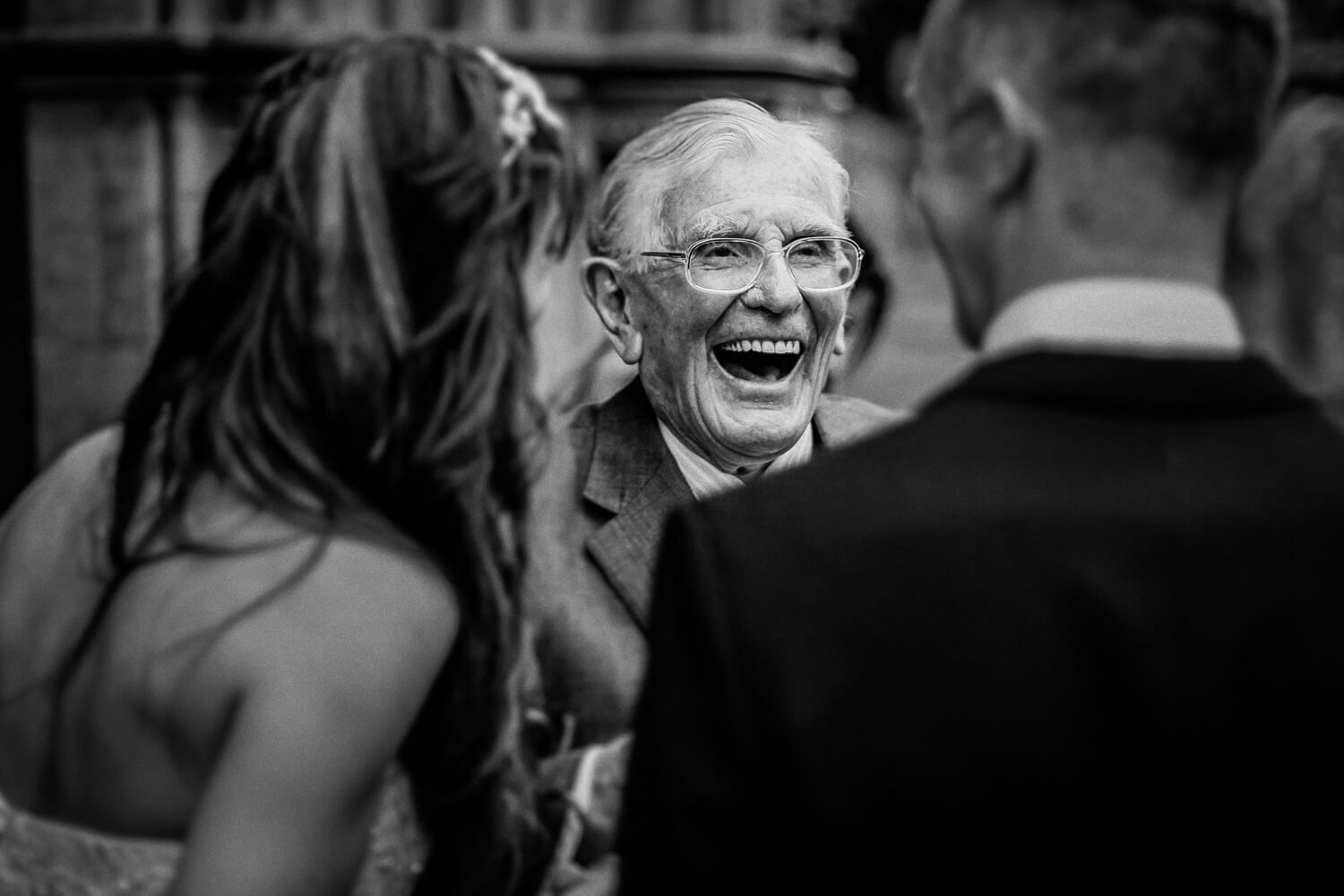 Old man laughing. Liverpool Documentary wedding photography