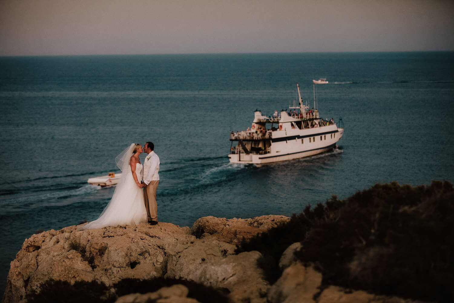 Destination wedding photographer Wes Simpson Cyprus. Bride and groom cape greco