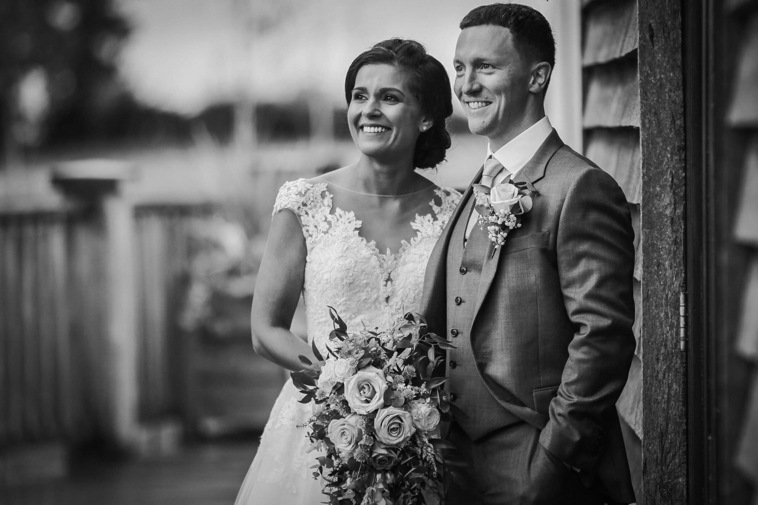 Lancashire wedding photographer Wes Simpson black and white portrait of bride and groom