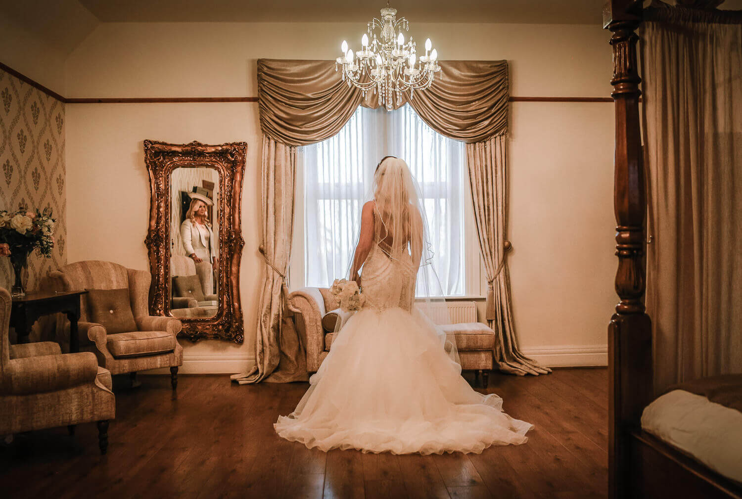 Bride in West Tower bridal suite. Lancashire wedding photographer Wes Simpson