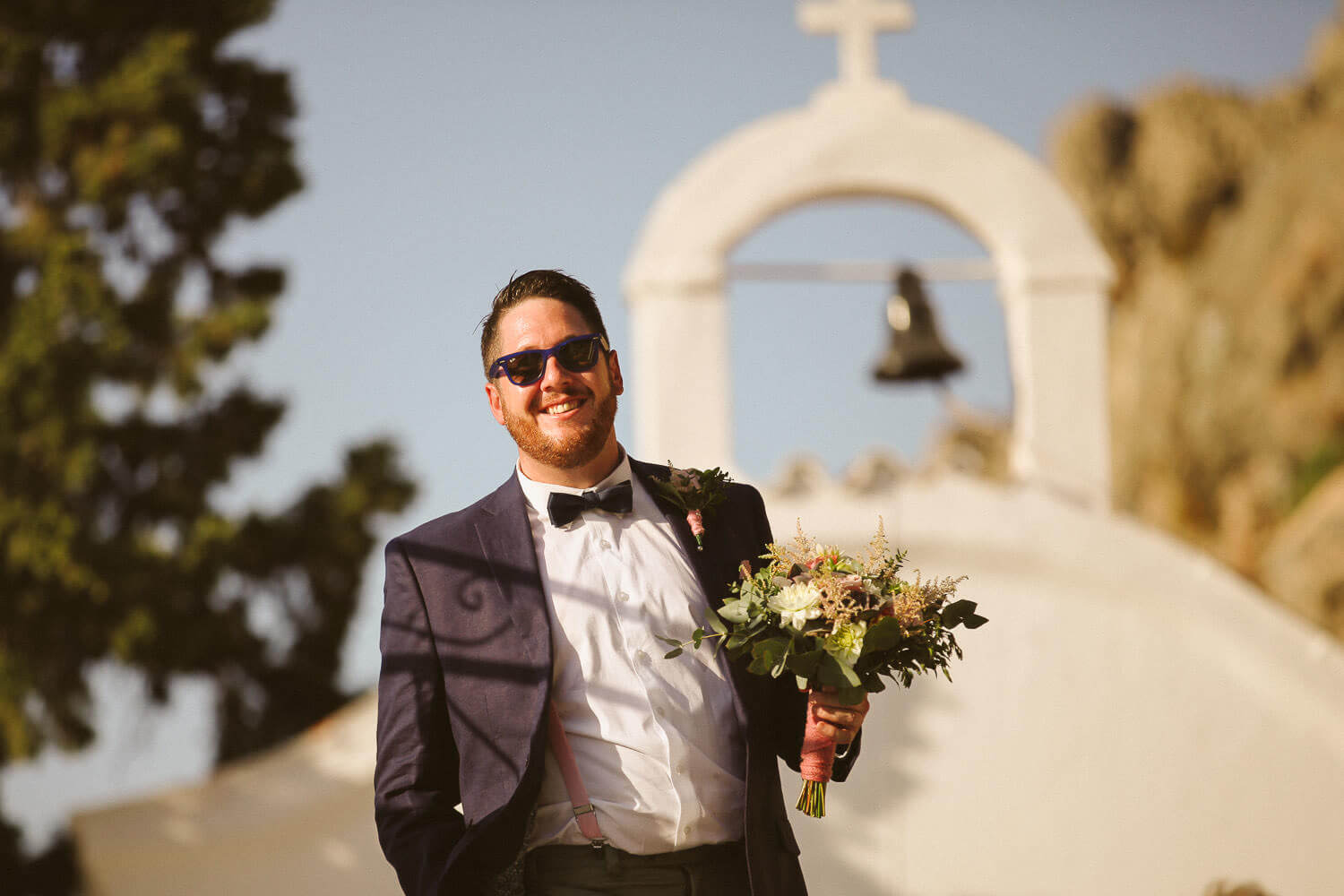Happy groom St Pauls Bay Lindos wedding Rhodes