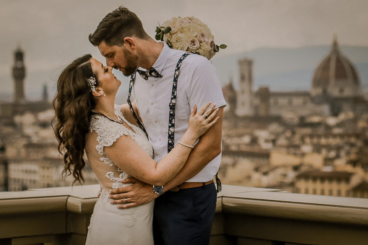 Romantic photo of couple of wedding day with view of Florence. Best wedding destination in Europe