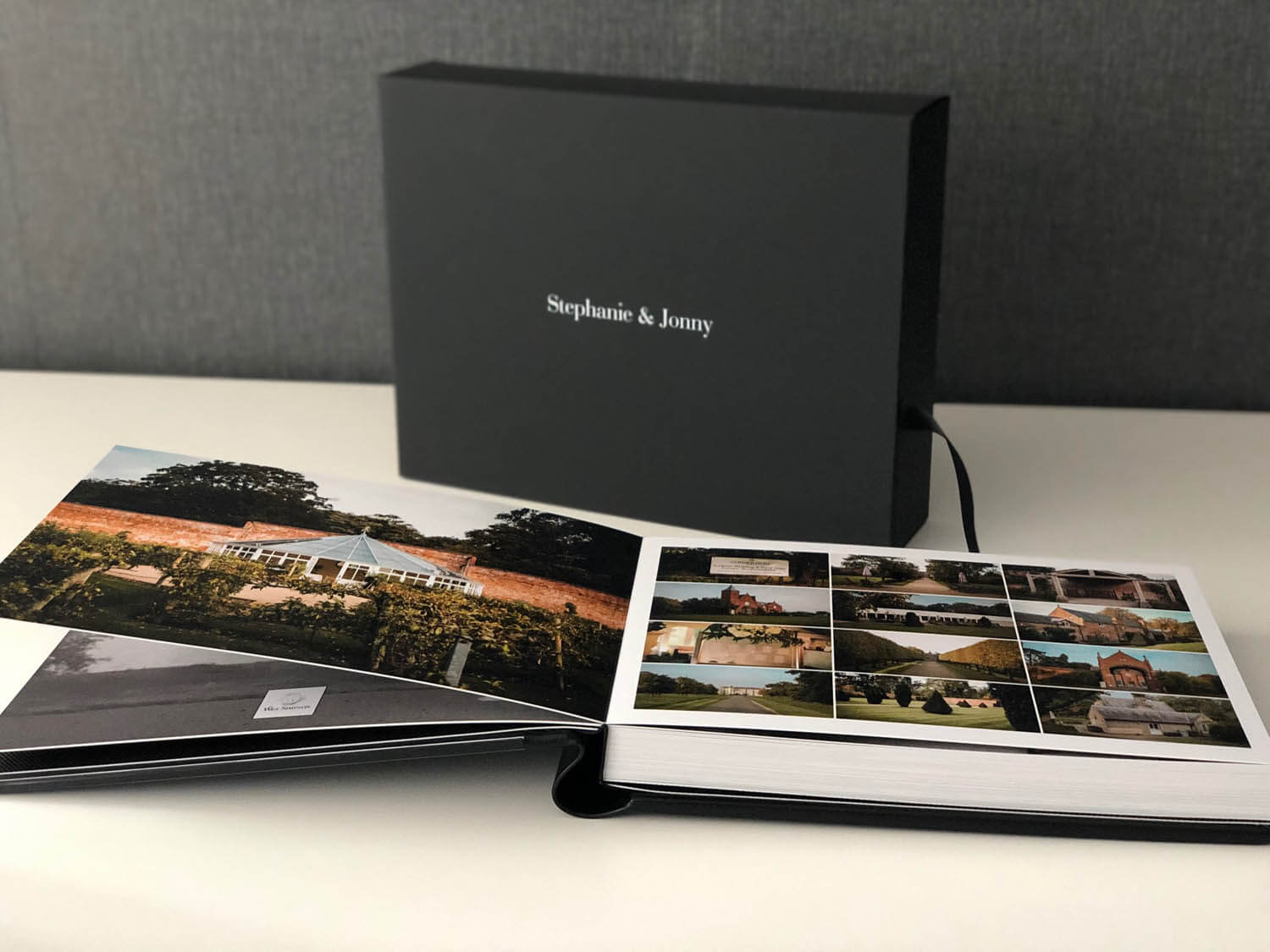 Storybook wedding album made in Italy with black box and white writing