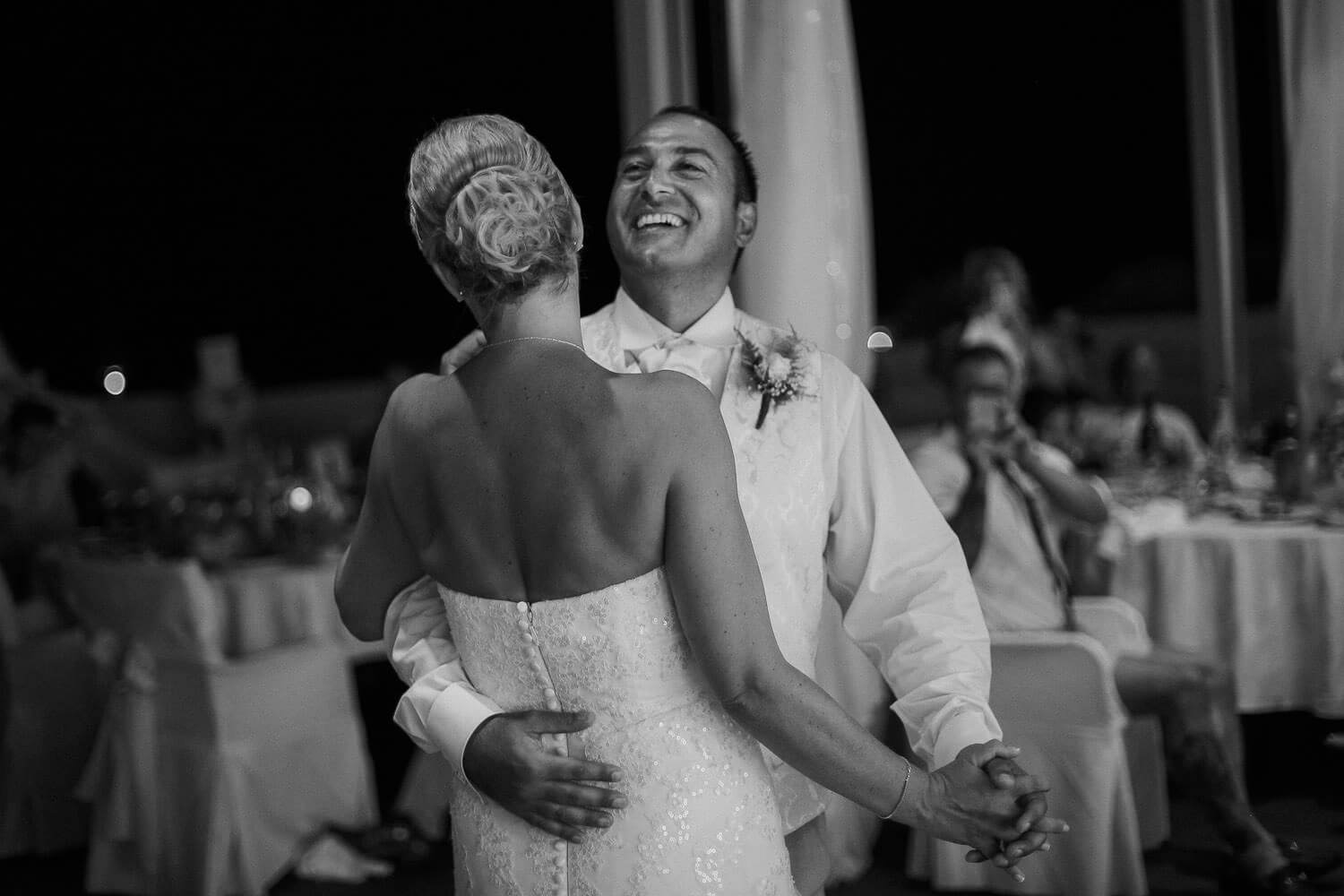 Black and white photo of bride and groom dating Capo bay Hotel Cyprus