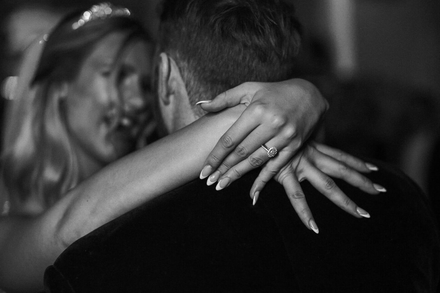Close up of brides hands whilst dancing West tower wedding