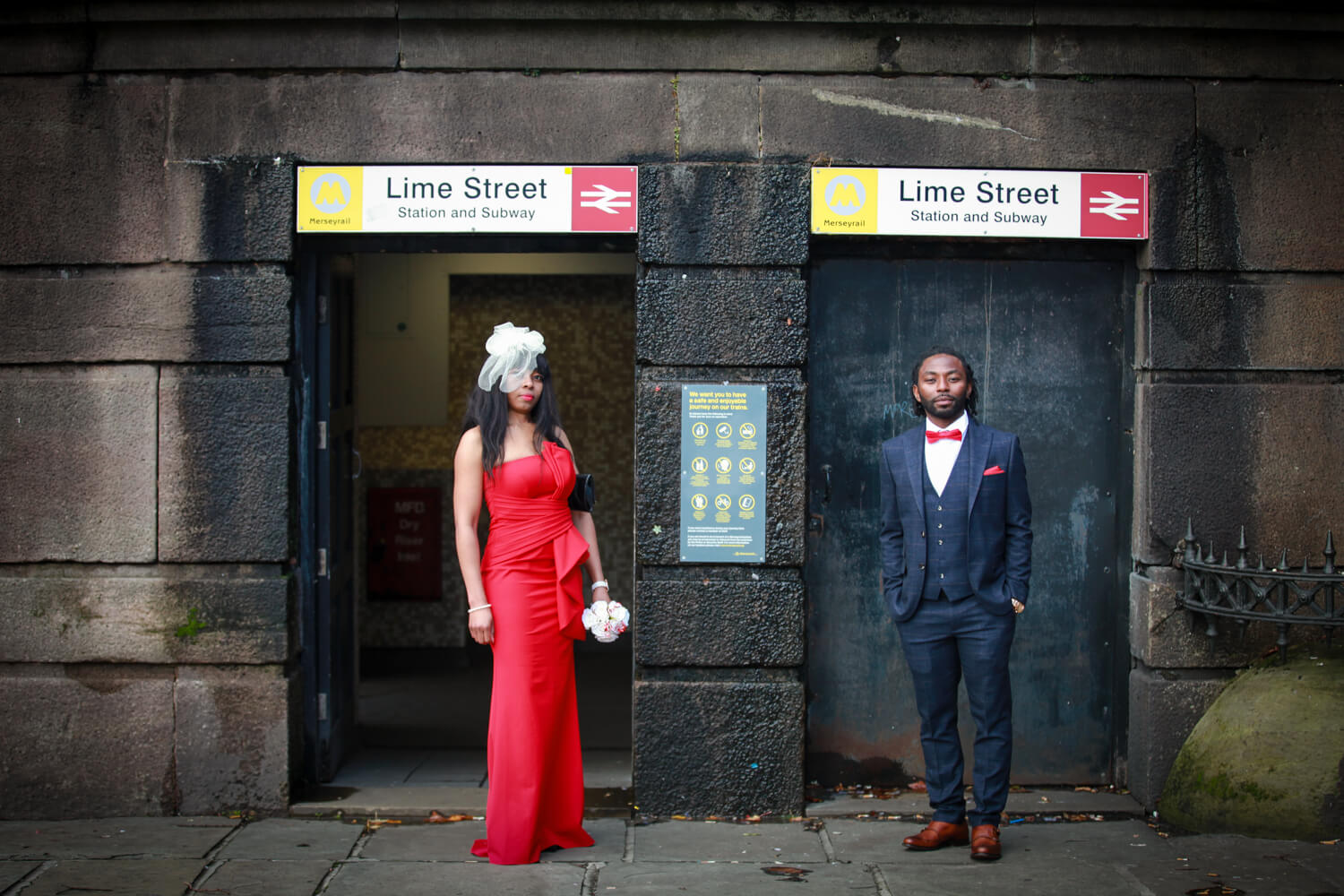 Covid wedding Liverpool. Bride and Groom Lime Street Station