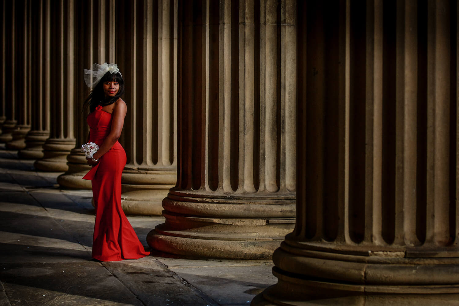 Covid wedding Liverpool bride in red dress St Georges Hall