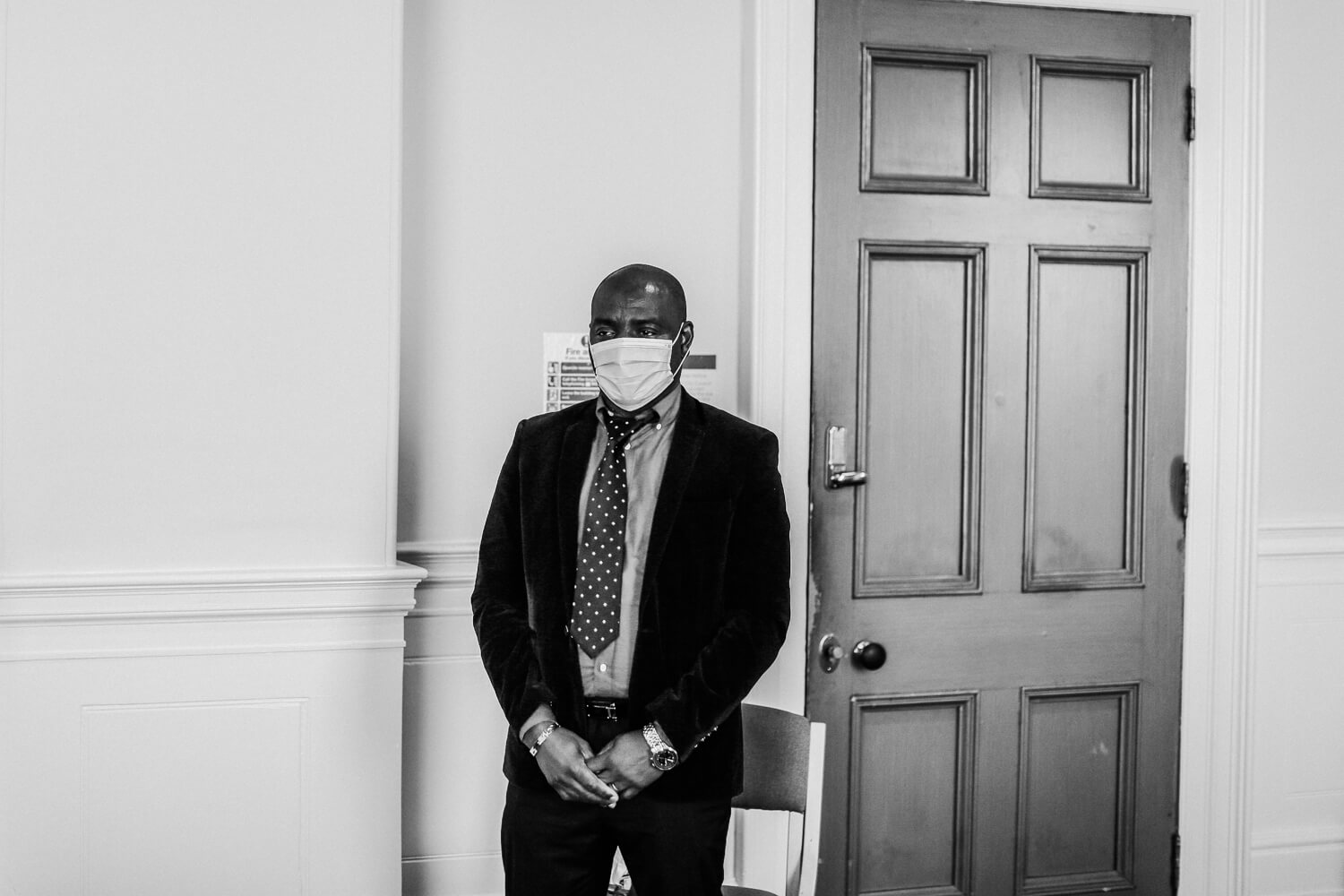 Covid wedding photography Liverpool Guest wearing mask