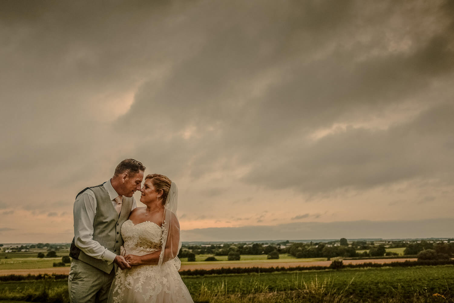 Bride and groom sunset portrait West Tower wedding venue